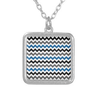 Chevron Pattern Background Blue Gray Black White Personalized Necklace