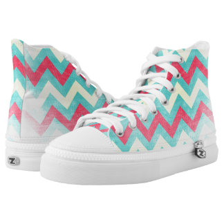Chevron pattern canvas sneakers Pink mint