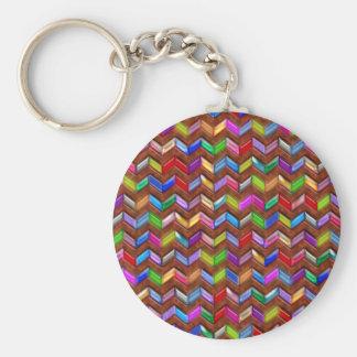 Chevron Pattern Digital Art Faux Leather Basic Round Button Key Ring