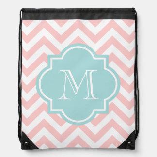Chevron pattern drawstring bag with monogram
