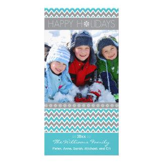 Chevron Pattern Family Holiday Photocard (aqua) Customized Photo Card