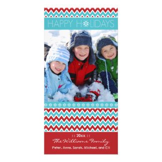Chevron Pattern Family Holiday Photocard (aqua) Customized Photo Card