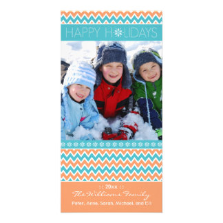Chevron Pattern Family Holiday Photocard (coral) Picture Card