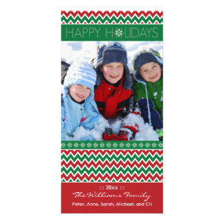 Chevron Pattern Family Holiday Photocard (green) Photo Card Template