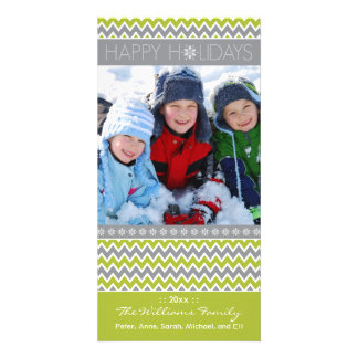 Chevron Pattern Family Holiday Photocard (lime) Photo Greeting Card