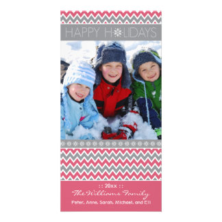 Chevron Pattern Family Holiday Photocard (pink) Customised Photo Card
