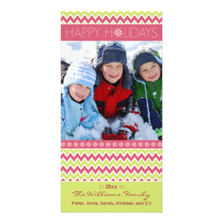 Chevron Pattern Family Holiday Photocard (pink) Personalized Photo Card