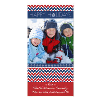 Chevron Pattern Family Holiday Photocard (red/blue Customised Photo Card