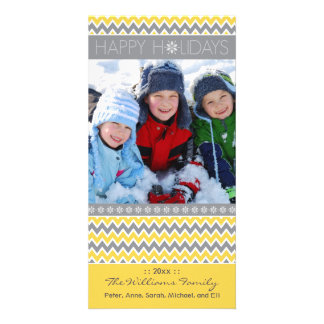 Chevron Pattern Family Holiday Photocard (yellow) Photo Cards