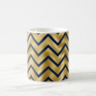 Chevron pattern faux gold navy basic white mug