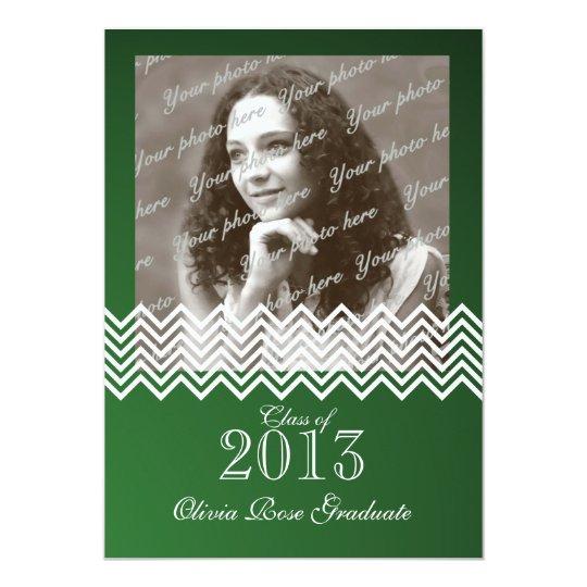 Chevron Pattern Green Graduate with Photo Card