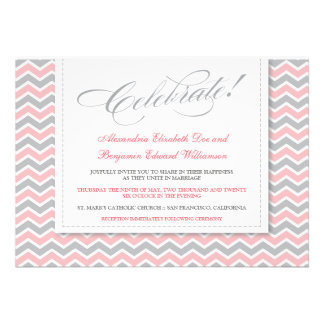 Chevron Pattern Modern Wedding Invitation (pink)