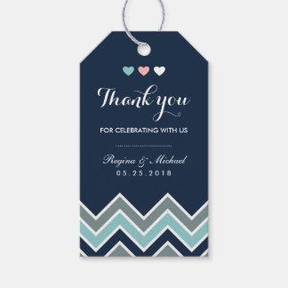 Chevron Pattern Navy Blue Bridal Shower Gift Tag