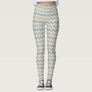 Chevron pattern on linen texture leggings