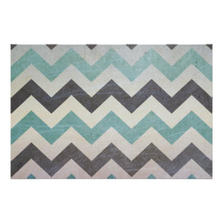Chevron Pattern On Metal Texture Poster