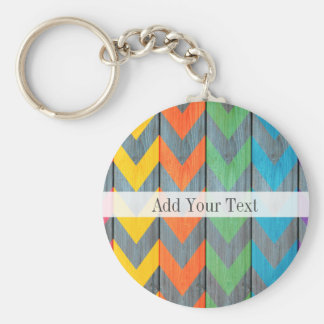 Chevron Pattern On Wood Texture by Shirley Taylor Key Ring