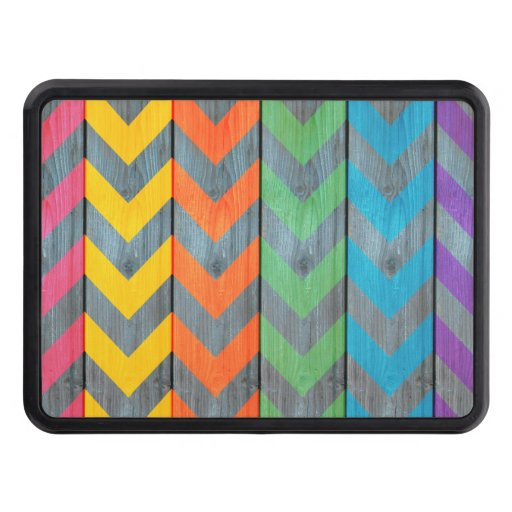 Chevron Pattern On Wood Texture Trailer Hitch Cover