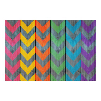 Chevron Pattern On Wood Texture Poster