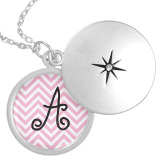 Chevron Pattern Personalized Name Monogram Initial Necklaces
