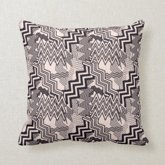 CHEVRON PATTERN PILLOW, Abstract Pink & Black Cushion