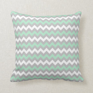 CHEVRON PATTERN PILLOW, Mint Green, Gray & White Cushion