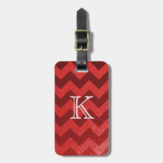 Chevron Pattern Red | Zigzag Glitter Monogram Luggage Tag