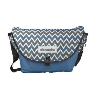 Chevron Pattern Rickshaw Messenger Bag (blue)