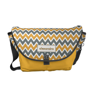 Chevron Pattern Rickshaw Messenger Bag (canary)