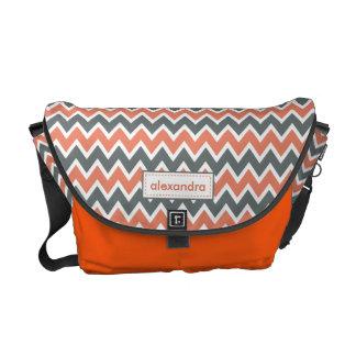 Chevron Pattern Rickshaw Messenger Bag (coral)