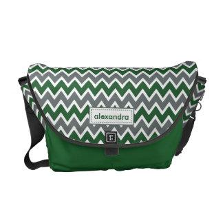 Chevron Pattern Rickshaw Messenger Bag (green)