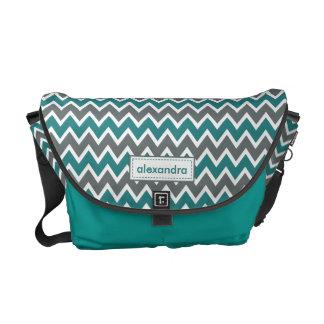 Chevron Pattern Rickshaw Messenger Bag (teal)