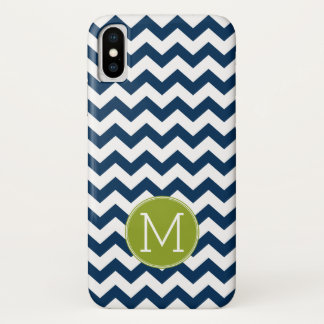 Chevron Pattern with Monogram - Navy Lime iPhone X Case