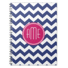 Chevron Pattern with Monogram - Navy Magenta Notebook