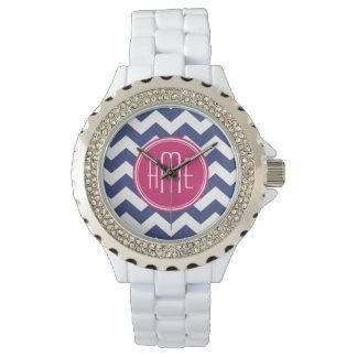 Chevron Pattern with Monogram - Navy Magenta Watch