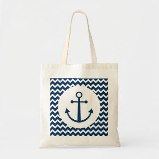 Chevron patterned anchor tote bag