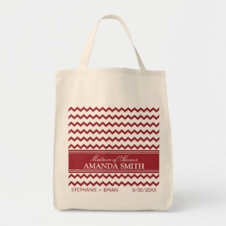 Chevron Personalized Wedding Party Tote (red) Tote Bag
