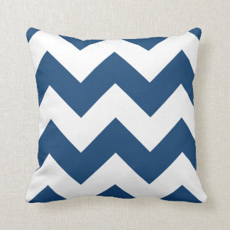 Chevron Pillow with Monaco Blue Zigzag