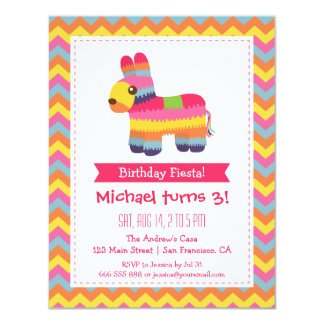 Chevron Pinata Mexican Fiesta Kids Birthday Party 11 Cm X 14 Cm Invitation Card