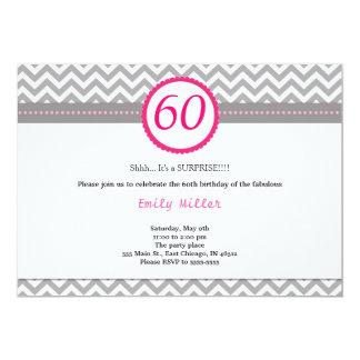 Chevron Pink Birthday Invitation
