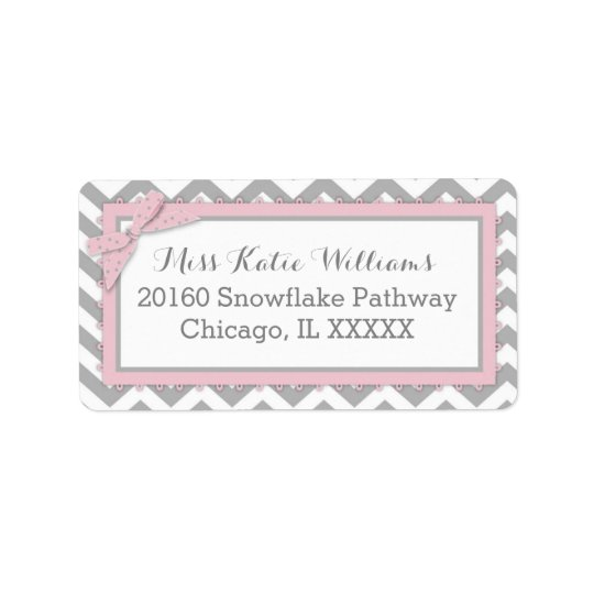 Chevron Pink Polka-dot Bow Baby Girl Label Address Label