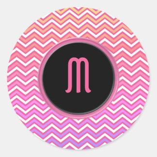 Chevron Pink Purple Monogram Round Sticker