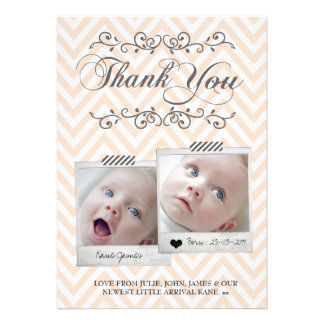 Chevron Polaroids Baby Photos Thank You Note Cards