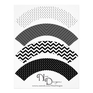 Chevron, Polka Dot, Stripe Print Cupcake Wrappers Full Color Flyer