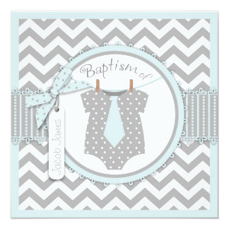 Chevron Print and Tie Baptism Invitation SQ-BLGY