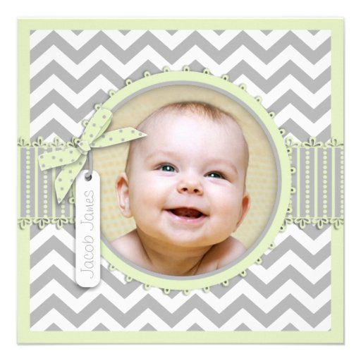 Chevron Print Baptism Invitation Photo Card SQ-MT