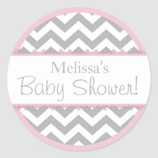 Chevron Print & Pink Contrast Baby Shower Round Sticker