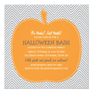 Chevron Pumpkin Halloween Party Invite