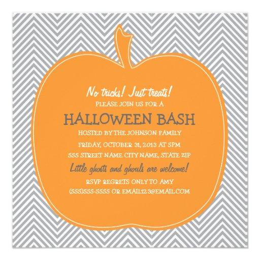 Chevron Pumpkin Halloween Party Invite Personalized Invite