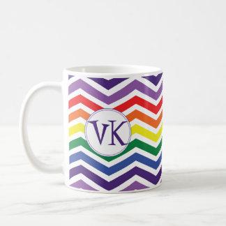 Chevron Rainbow Coffee Mug with Initials