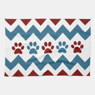 Chevron Red Blue Puppy Paw Prints Dog Lover Gifts Tea Towel